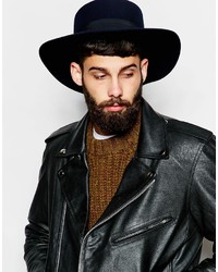 ... Asos Brand Flat Top Hat In Navy Felt With Wide Brim ... 884022b89eb