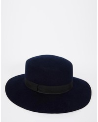 d087342345a Asos Brand Flat Top Hat In Navy Felt With Wide Brim