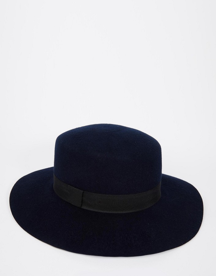 ... Asos Brand Flat Top Hat In Navy Felt With Wide Brim ... d1b93e40493