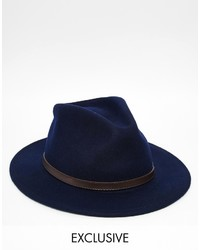 Reclaimed Vintage Fedora With Leather Detail