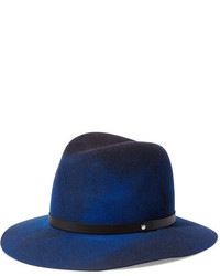 Leather trimmed wool felt fedora navy medium 964520