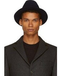 Navy felted wool fedora medium 93210