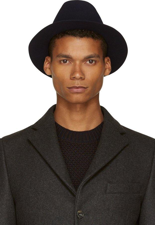 ... Hats A.P.C. Navy Felted Wool Fedora ... 02e1b791ee2
