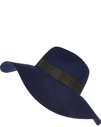 River Island Navy Oversized Fedora Hat