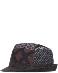 Patchwork wool suede brimmed hat medium 609192