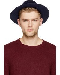 Burberry Prorsum Indigo Blue Rabbit Felt Round Hat
