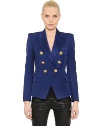 Balmain Double Breasted Wool Twill Jacket