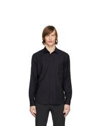 Z Zegna Navy Merino Snap Button Shirt