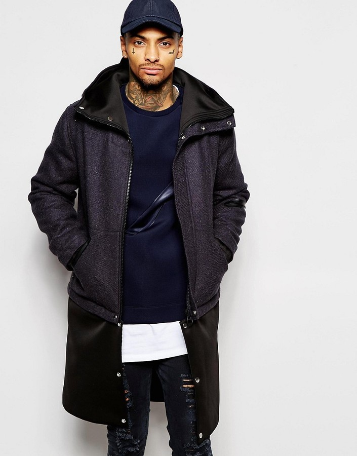 Asos Harris Tweed Parka Jacket In Navy | Where to buy & how to wear