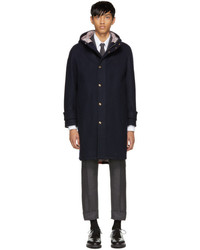 Thom Browne Navy Snap Front Hooded Parka