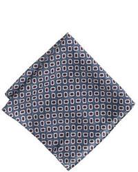 J.Crew Italian Wool Pocket Square In Blue Foulard