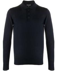 Emporio Armani Long Sleeve Wool Knit Polo Shirt