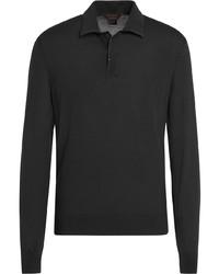 Ermenegildo Zegna Long Sleeved Wool Polo Shirt