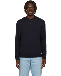 Z Zegna Navy Wool Long Sleeve Polo