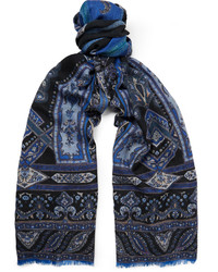 Etro Fringed Patterned Wool And Yak Blend Scarf