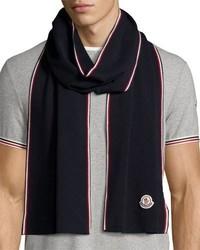 Moncler Wool Tricolor Trim Logo Scarf Navy