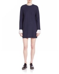 Navy Wool Shift Dress