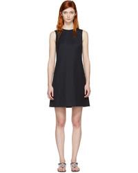 Navy wool shift dress medium 1196114