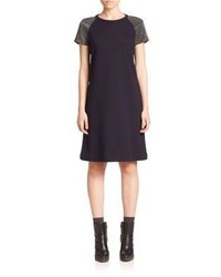 Brunello Cucinelli Wool Cotton Monili Embellished Shift Dress