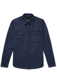 Brioni Brushed Wool And Cashmere Blend Overshirt