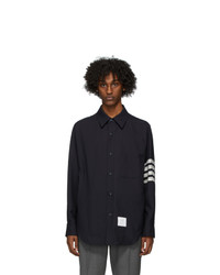 Thom Browne Navy Snap Front 4 Bar Jacket
