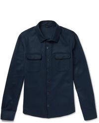 Loro Piana Suede Trimmed Cashmere Shirt Jacket