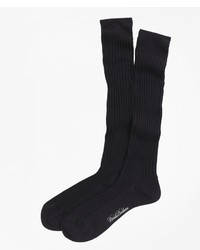 Brooks Brothers Merino Wool Ribbed Over The Calf Socks