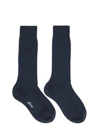 Brioni Navy Wool Socks