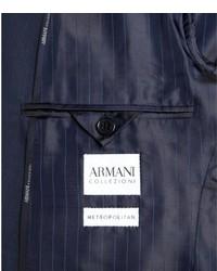 promo code 754c4 68f28 $1,895, Giorgio Armani Armani Armani Collezioni Navy Tonal Herringbone Wool  Blend Two Button Suit With Flat Front Pants