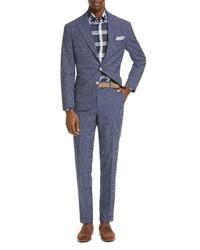Brunello Cucinelli Glen Plaid Wool Linen Suit