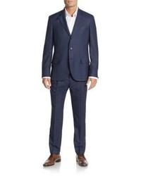 Brunello Cucinelli Regular Fit Woven Wool Linen Silk Suit