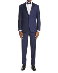 Canali Sienna Contemporary Peaked Lapel Wool Suit
