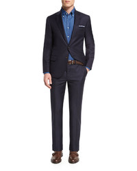 Brunello Cucinelli Solid Gabardine Two Piece Wool Suit Navy