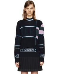 Versace Navy Wool Logo Sweater