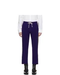 Gucci Blue Wool Jersey Cropped Jogging Pants
