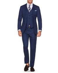 Suitsupply Lazio Slim Fit Solid Wool Three Piece Suit