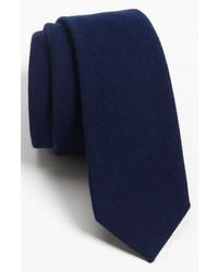 The tie bar woven wool blend tie navy regular medium 136241