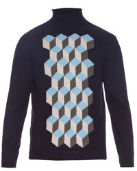 Christopher Kane 3d Cubes Panel Wool Roll Neck Sweater