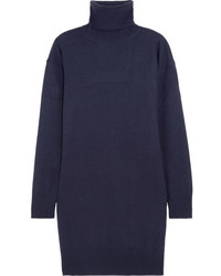 Suede trimmed wool turtleneck sweater navy medium 4393766