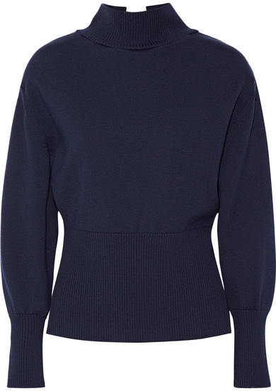 Jacquemus Tie Back Wool Turtleneck Sweater Midnight Blue | Where ...