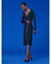 Diane von Furstenberg Long Sleeve Metallic Knit Wrap Dress