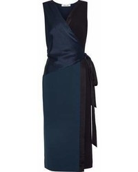 Diane von Furstenberg Paneled Satin And Crepe Wrap Dress