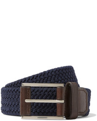 Michael Kors Michl Kors 35cm Navy Leather Trimmed Woven Elasticated Belt