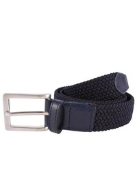 Bassin and brown woven and leather trimmings belt navy medium 262961