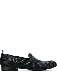 Navy Woven Leather Loafers