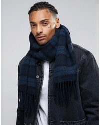 Asos Woven Scarf In Navy Stripe