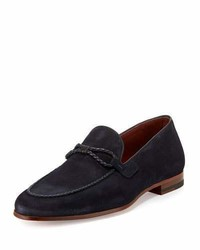 Navy Woven Suede Loafers