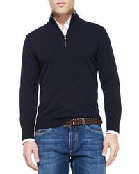 Brunello Cucinelli 2 Ply Cashmere Half Zip Pullover