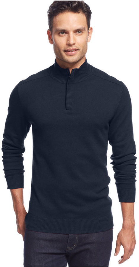 ... Navy Zip Neck Sweaters Alfani Solid Quarter Zip Sweater ...