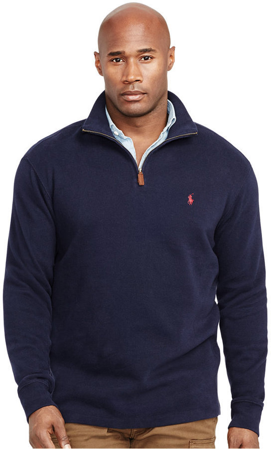 e35672ce Polo Ralph Lauren Big And Tall French Rib Half Zip Pullover Sweater, $125 |  Macy's | Lookastic.com